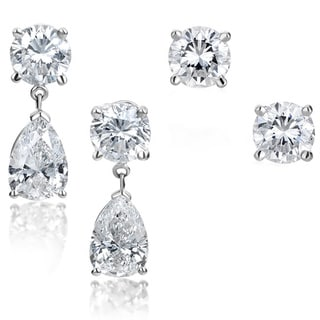 SummerRose 14k White Gold 3 1/2ct TDW Diamond Stud Earrings and Removable Pear-cut Drop Jacket