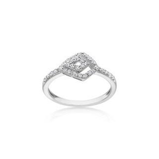 SummerRose 14k White Gold .32cttw Diamond Fashion Open Geometric Ring