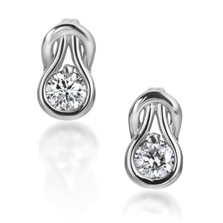 SummerRose 14k White Gold 2/5ct TDW Diamond Knot Stud Earrings (H-I, SI2-SI3)