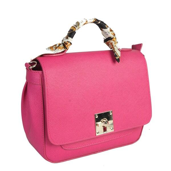 Mllecoco Genuine Leather Scarf Wrap Handle Crossbody Handbag Medium