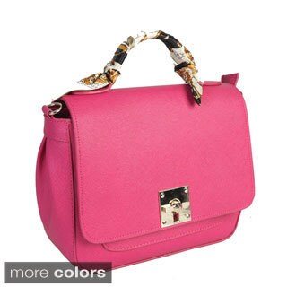Mllecoco Genuine Leather Scarf Wrap Handle Crossbody Handbag