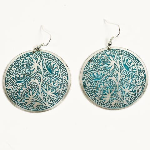 Handmade Padma Teal Medallion Earrings (India)