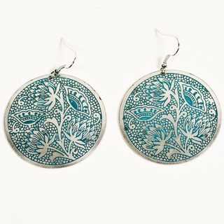 Padma Teal Medallion Earrings (India)