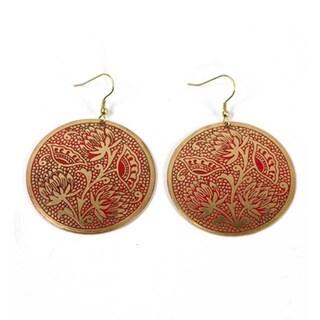 Handmade Padma Red Medallion Earrings (India)