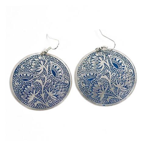 Handmade Padma Blue Medallion Earrings (India)