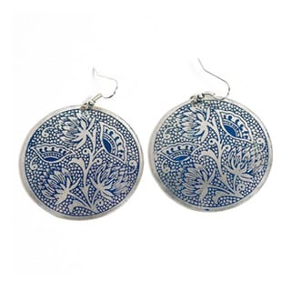 Handmade Padma Blue Medallion Earrings (India)