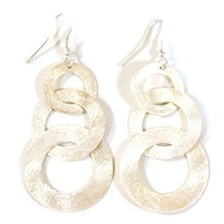 Silvertone Linked-up Dangle Earrings (India)