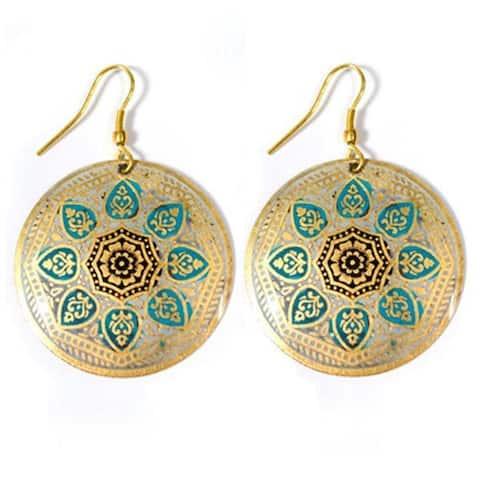 Handmade Matsya Floral Medallion Earrings (India)