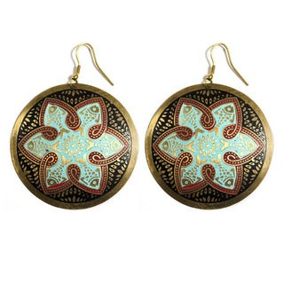 Tzolk'in Brass Medallion Earrings (India)