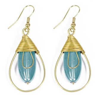 Upwire Teal-drop Dangle Earrings (India)