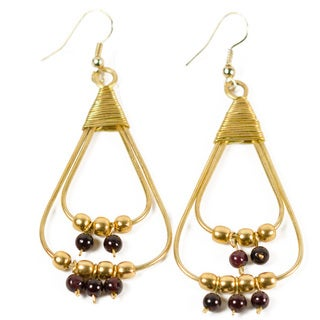 Upcycled Wire Elements Brown/ Gold Dangle Earrings (India)