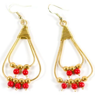 Upcycled Wire Elements Red/ Gold Earrings (India)