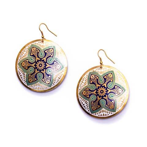 Handmade Tzolk'in Navy Floral Medallion Earrings (India)