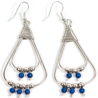 Upcycled Wire Elements Blue/ Silver Dangle Earrings (India)