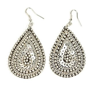 Handmade Silvertone Cleopatra Dangle Earrings (India)