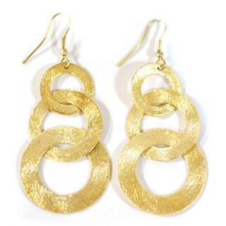Handmade Goldtone Linked-up Dangle Earrings (India)