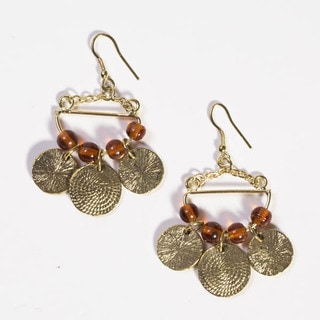 Handmade Goldtone Market Dangle Earrings (India)