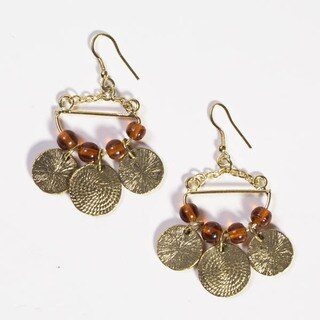 Handmade Goldtone Market Dangle Earrings (India)