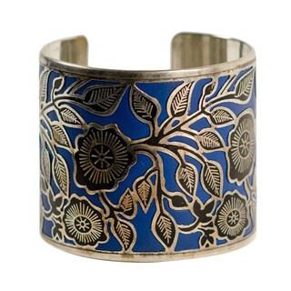 Handmade Julia Blue Floral Cuff Bracelet (India)