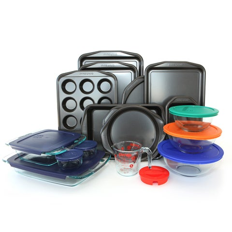 Baker's Secret Signature and Pyrex Glass and Aluminum 25-piece Bakeware Set