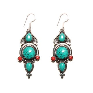 Exotic Silvertone Malachite and Coral Earrings (Nepal)
