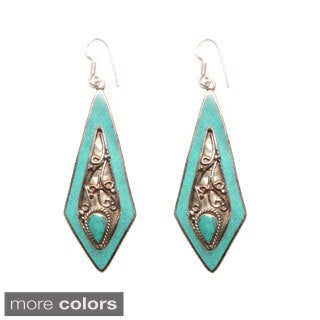 Silvertone Diamond-shaped Turquoise Earrings (Nepal)