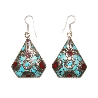 Handmade Silvertone Trapezoid-shaped Mosaic Earrings (Nepal)