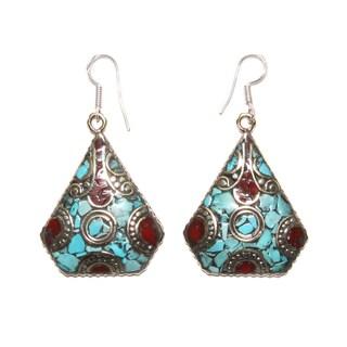 Handmade Silvertone Trapezoid-shaped Mosaic Earrings (Nepal)