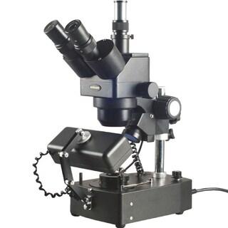 10X-60X Jewelry Gem Trinocular Stereo Microscope with Three Lights
