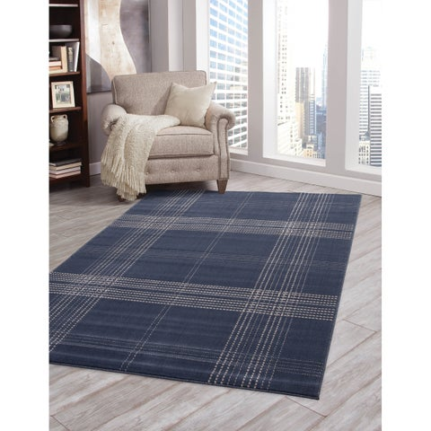 Machine-woven Colby Plaid Blue Olefin Rug by Greyson Living (5'3 x 7'6)