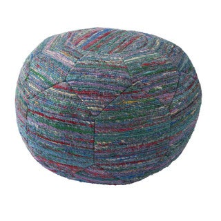 National Geographic Solid Pattern Deep lake/Snorkel Blue Rayon Pouf