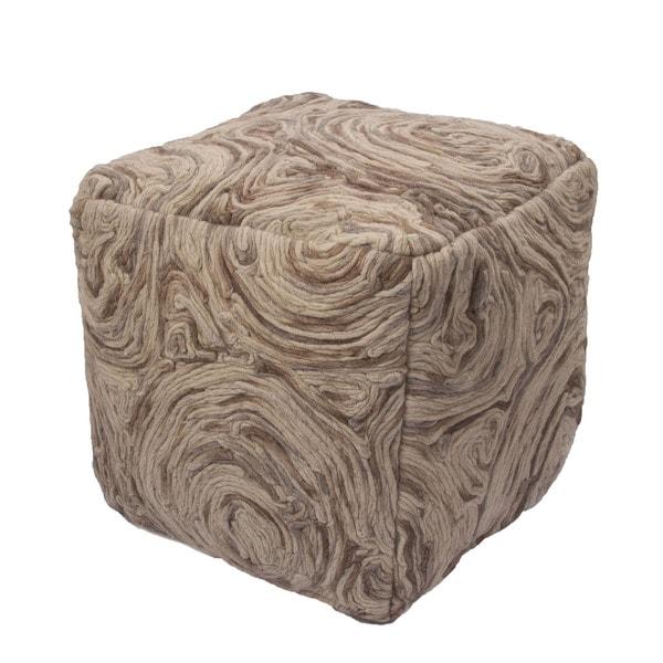 National Geographic Abstract Pattern Frozen dew/Woodsmoke Wool 16-inch Pouf