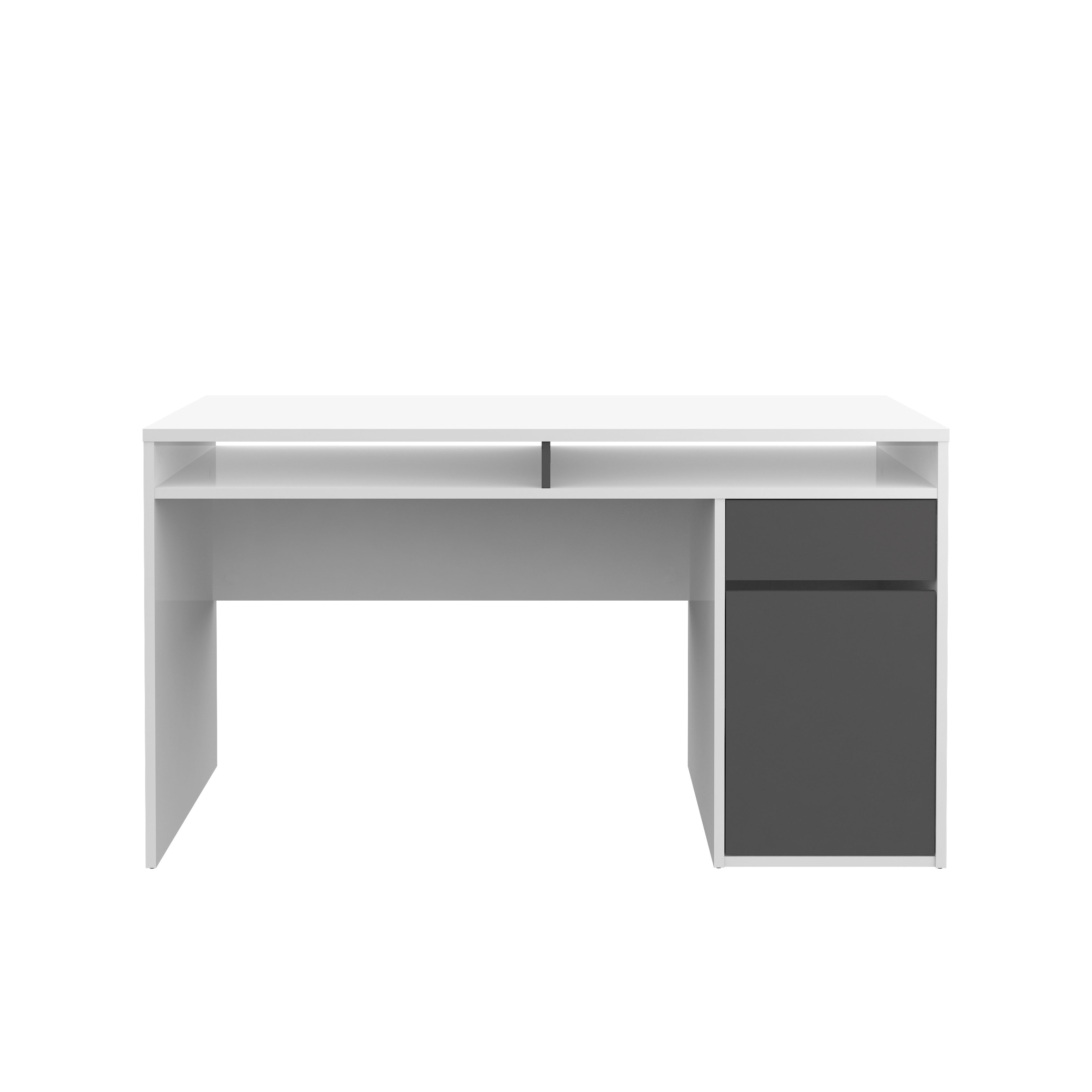 White And Grey High Gloss Desk