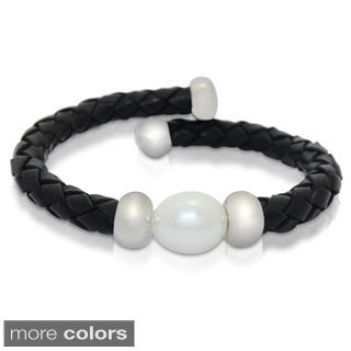 Gioelli Sterling Silver Freshwater Pearl Braided Leather Bracelet