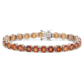 Gioelli Sterling Silver 6mm Round Cut Ecstacy Topaz Bracelet