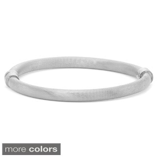 Gioelli Sterling Silver Smooth Textured Hinge Bangle Bracelet
