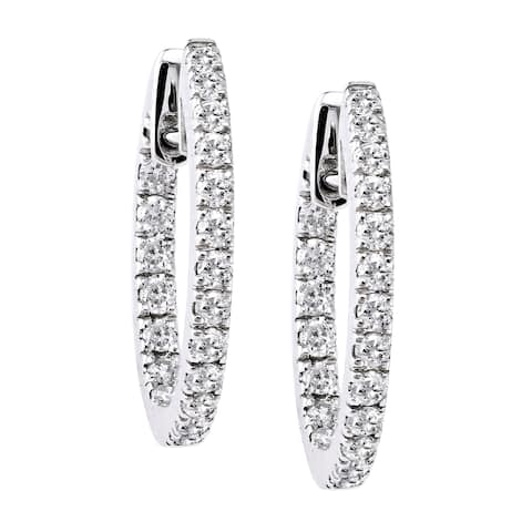 10k White Gold 1ct TDW Diamond Inside out Round Hoop Earrings by Beverly Hills Charm