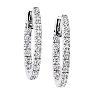 Beverly Hills Charm 10k Gold 1ct TDW Diamonds Inside-out Round Hoop Earrings