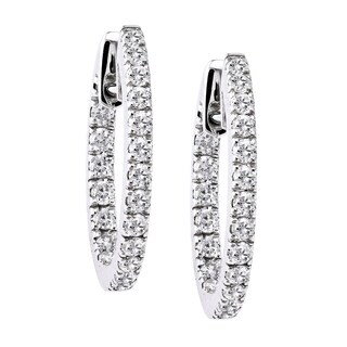 10k Gold 1ct TDW Diamonds Inside-out Round Hoop Earrings