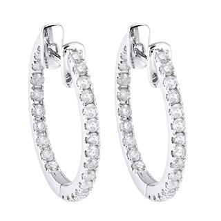 10k White Gold 1/2ct TDW Diamond Inside out Hoop Earrings