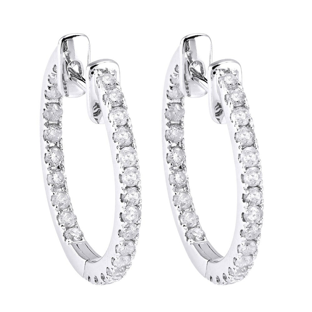 18K Yellow Gold Diamond Hoop Earrings 245