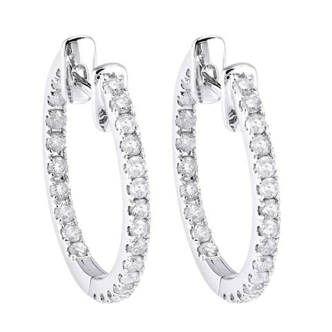 10k White Gold 1/2ct TDW Diamond Inside out Oval Hoop Earrings by Beverly Hills Charm