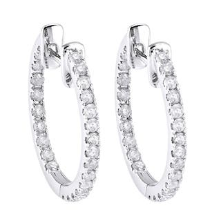 10k White Gold 1/2ct TDW Diamond Inside-out Hoop Earrings|https://ak1.ostkcdn.com/images/products/10151893/P17280869.jpg?impolicy=medium