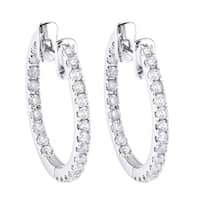 10k White Gold 1/2ct TDW Diamond Inside out Hoop Earrings