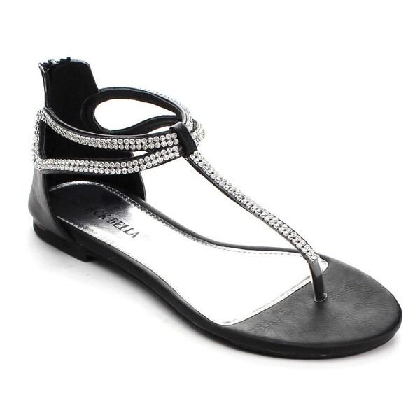 bfc9792213b Shop Rck Bella Women s Ario-17 Rhinestone T-strap Back Zipper Flat ...