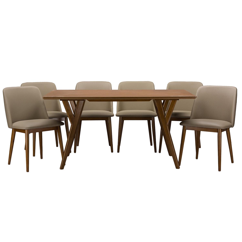 Lavin Mid Century Solid Wood 7 Piece Dining Set