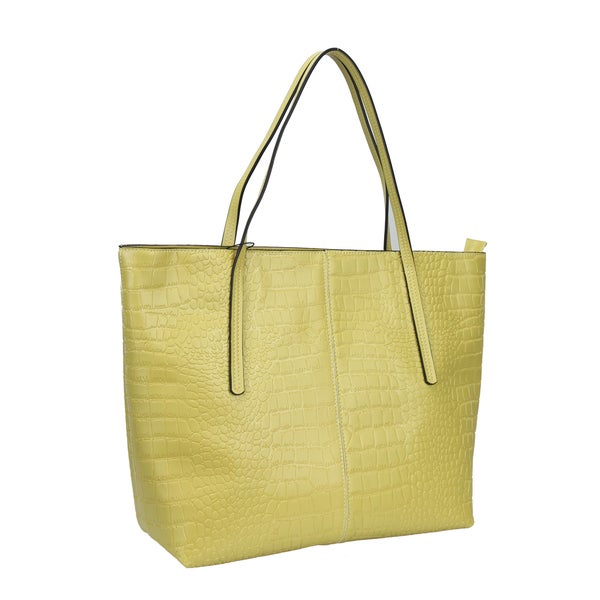 """Mllecoco Genuine Leather Yellow Shoulder Strap Tote - 15""""l x 12""""w x 4.5""""h"""