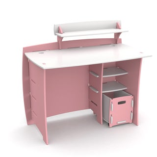 Legare Kids Furniture Pink/ White 43 Inch Complete Desk System With File  Cart