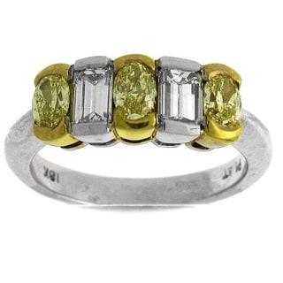 Azaro Platinum 1 1/2ct TDW Yellow and White Diamond Fashion Ring (G-H, SI1-SI2)