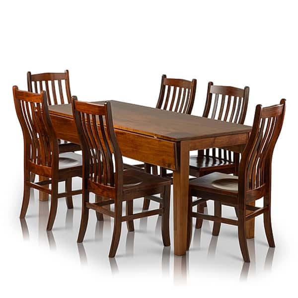 Somette 7 Piece Solid Maple Wood Dining Set With Drop Leaf Rectangle Table And Dining Chairs Overstock 10151995